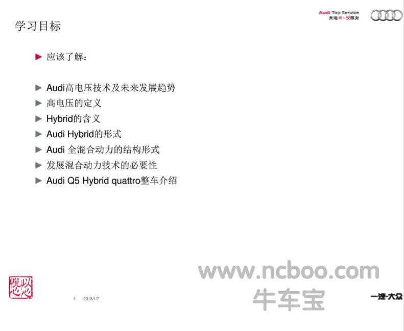 2013款奥迪Q5Hybrid高电压技术概览和整车介绍PDF