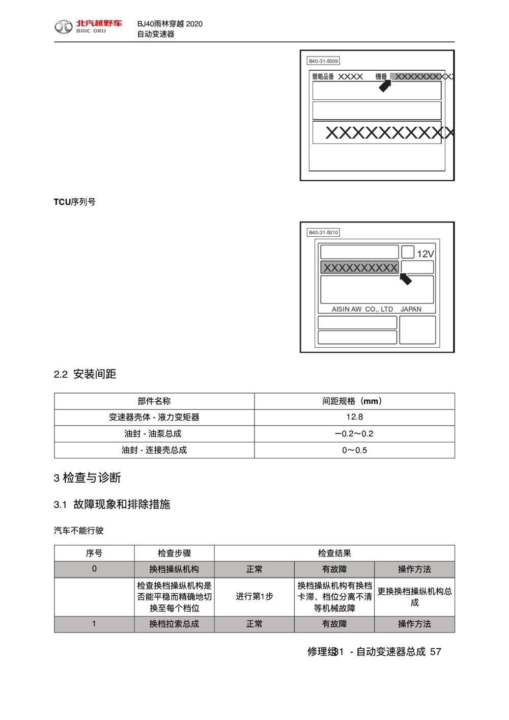 2020款北京BJ40雨林穿越版自动变速器检查与诊断