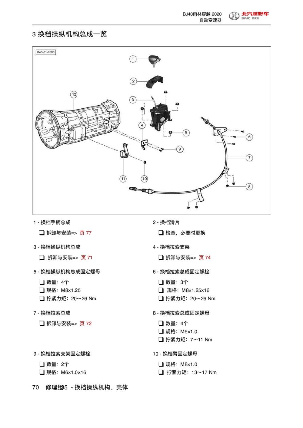 2020款北京BJ40雨林穿越版换档操纵机构总成一览