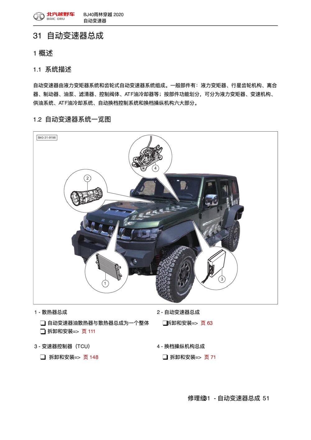 2020款北京BJ40雨林穿越版自动变速器概述