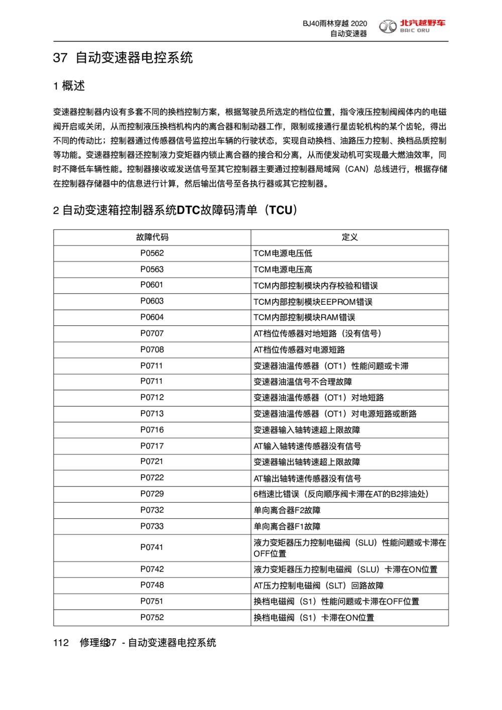 2020款北京BJ40自动变速器电控系统DTC故障码清单(TCU)1
